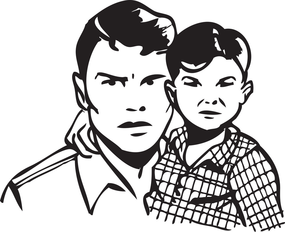 Illustration Of A Father With Son.