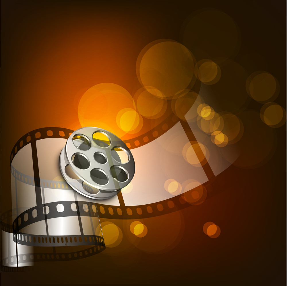 Illustration Of A Film Stripe Or Film Reel On Shiny Brown Movie Background