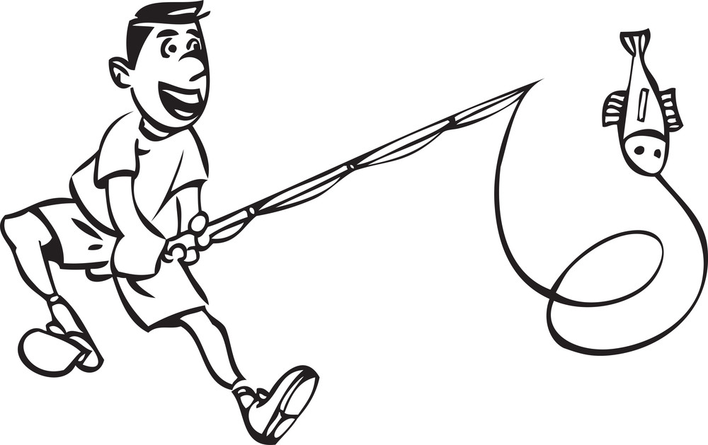 Illustration Of A Fisherman With Fishing Pole And Fish.