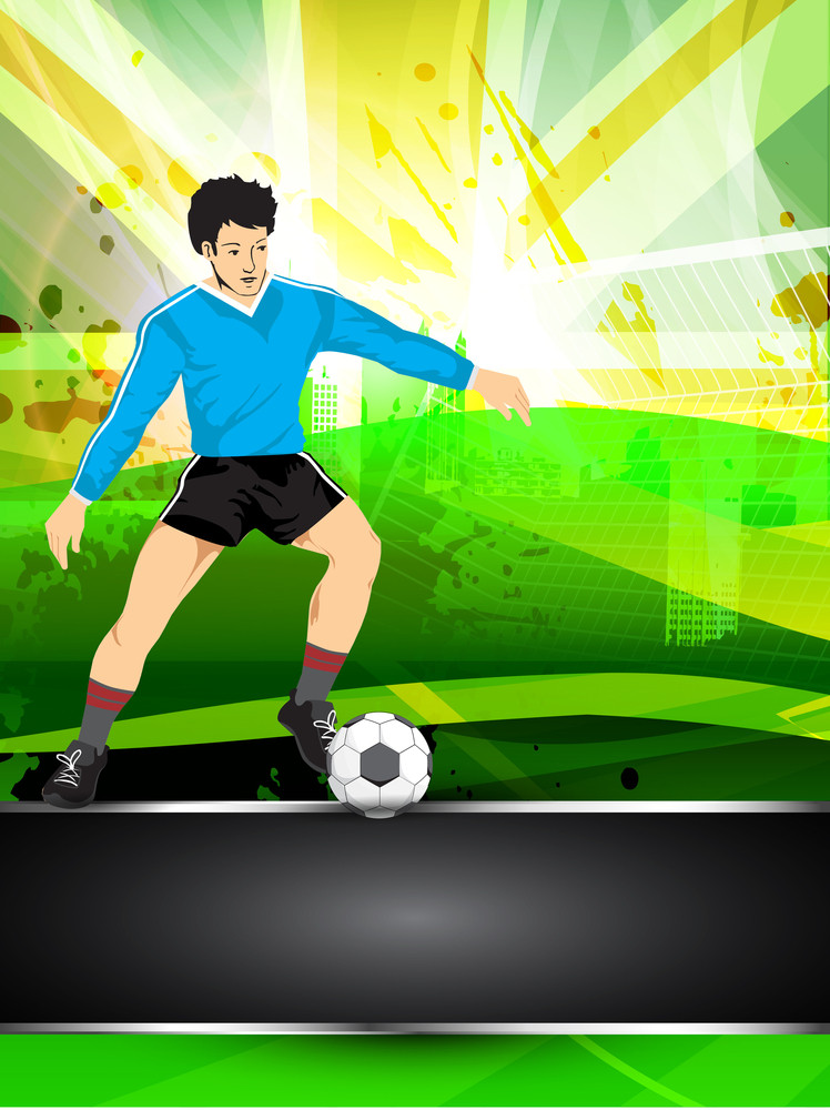 Illustration Of A Football Player With Shiny Soccer Ball On Grungy Colorful Background.
