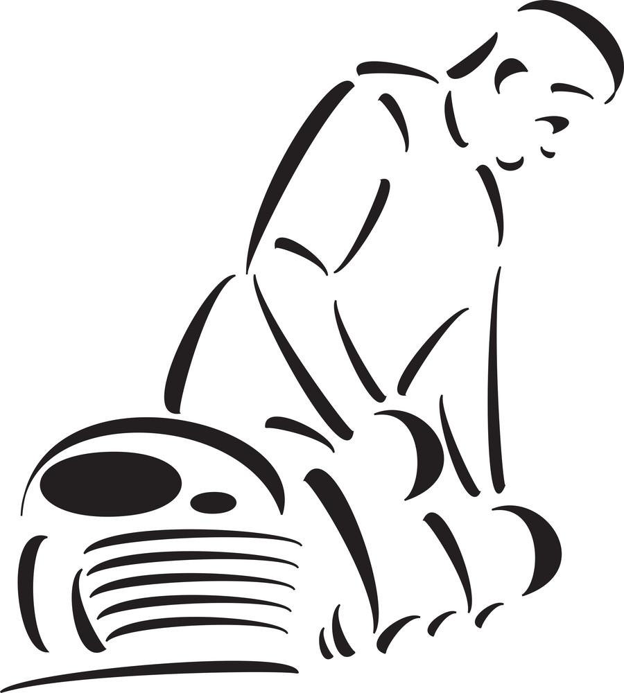 Illustration Of A Gardener In Garden.