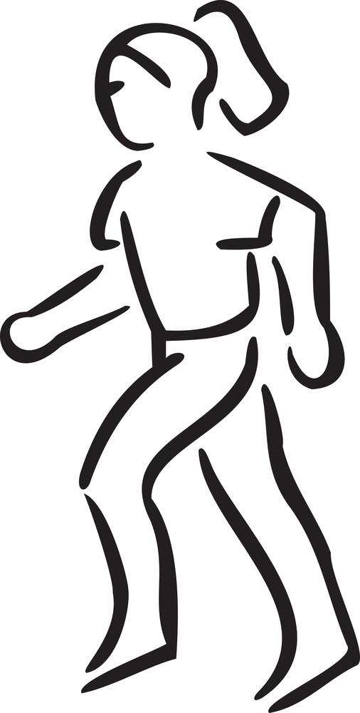 Illustration Of A Girl Jogging For Fitness.