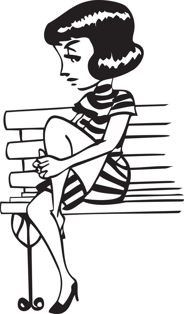 Illustration Of A Girl With Bench.