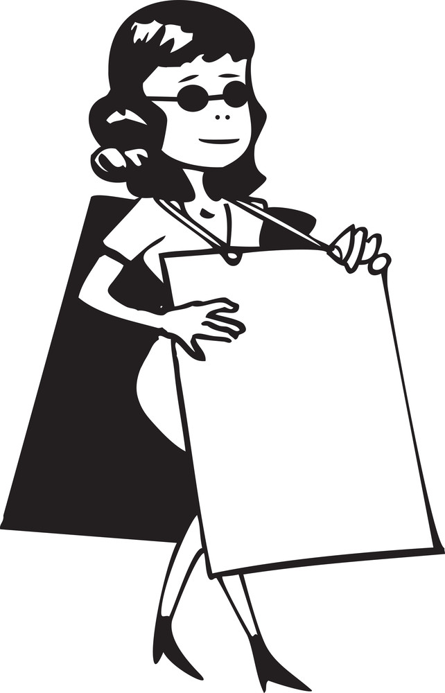 Illustration Of A Girl With Blank Sandwich Board.