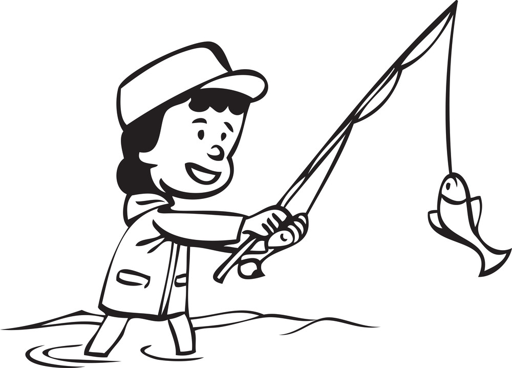 Illustration Of A Girl With Fishing Pole And Fish.
