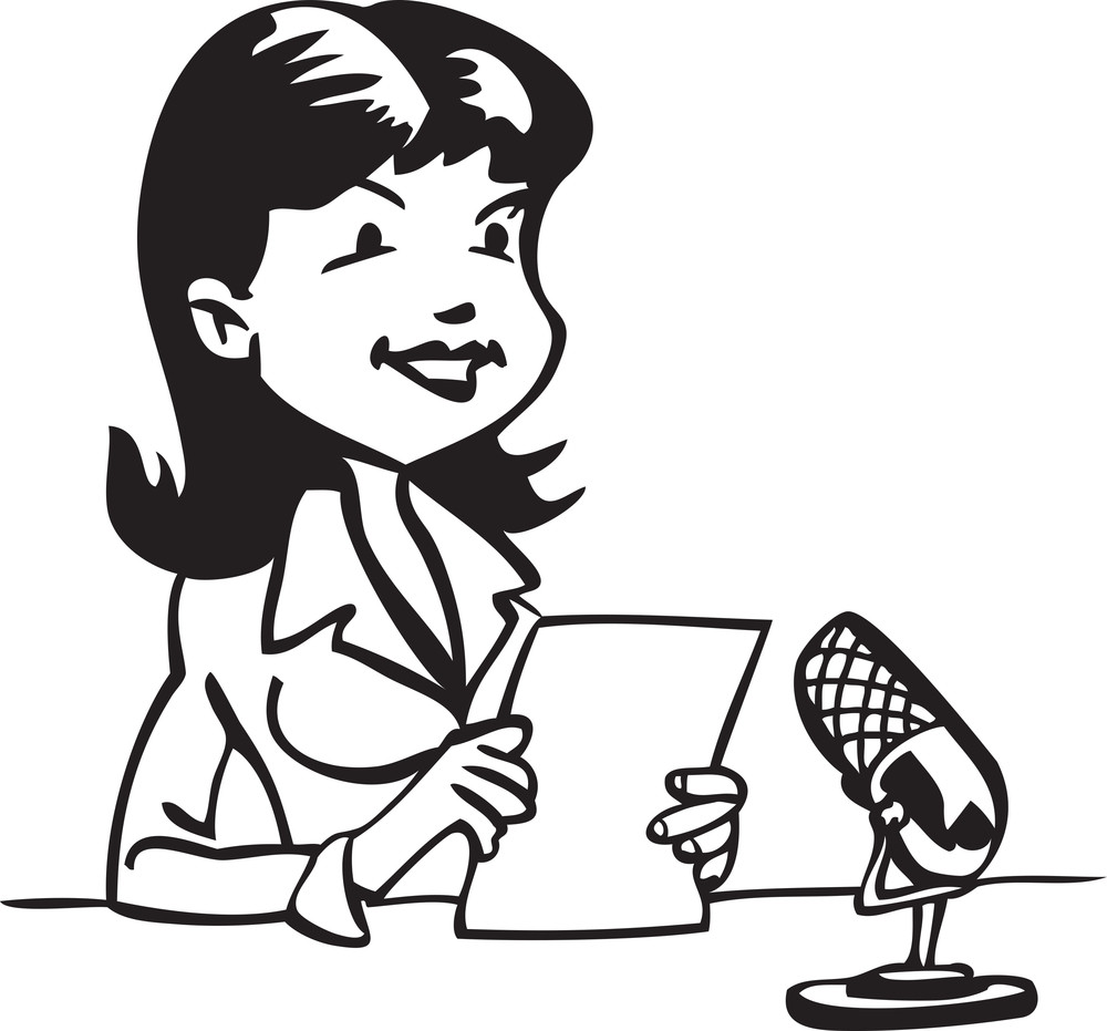 Illustration Of A Girl With Microphone.