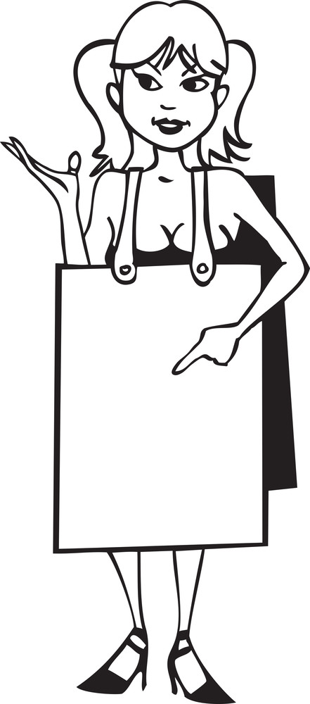 Illustration Of A Girl With Sandwich Board.