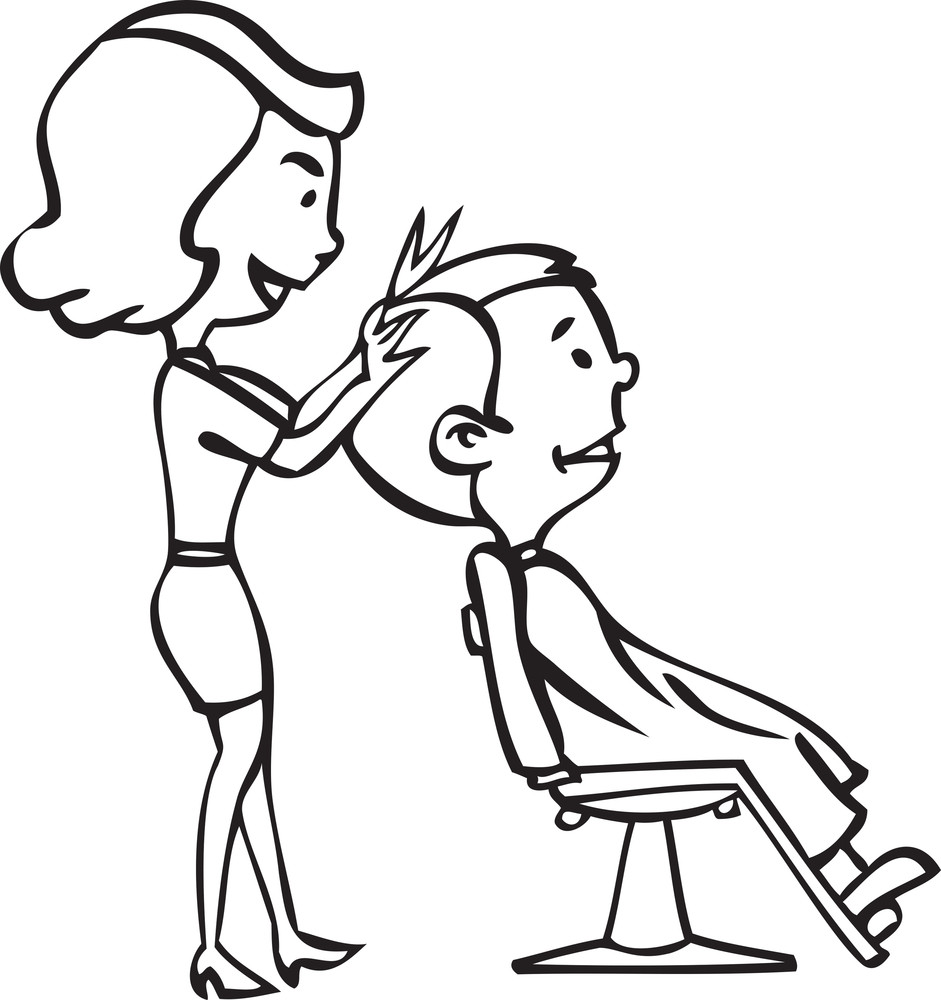 illustration of a hairdresser cutting hair of a man