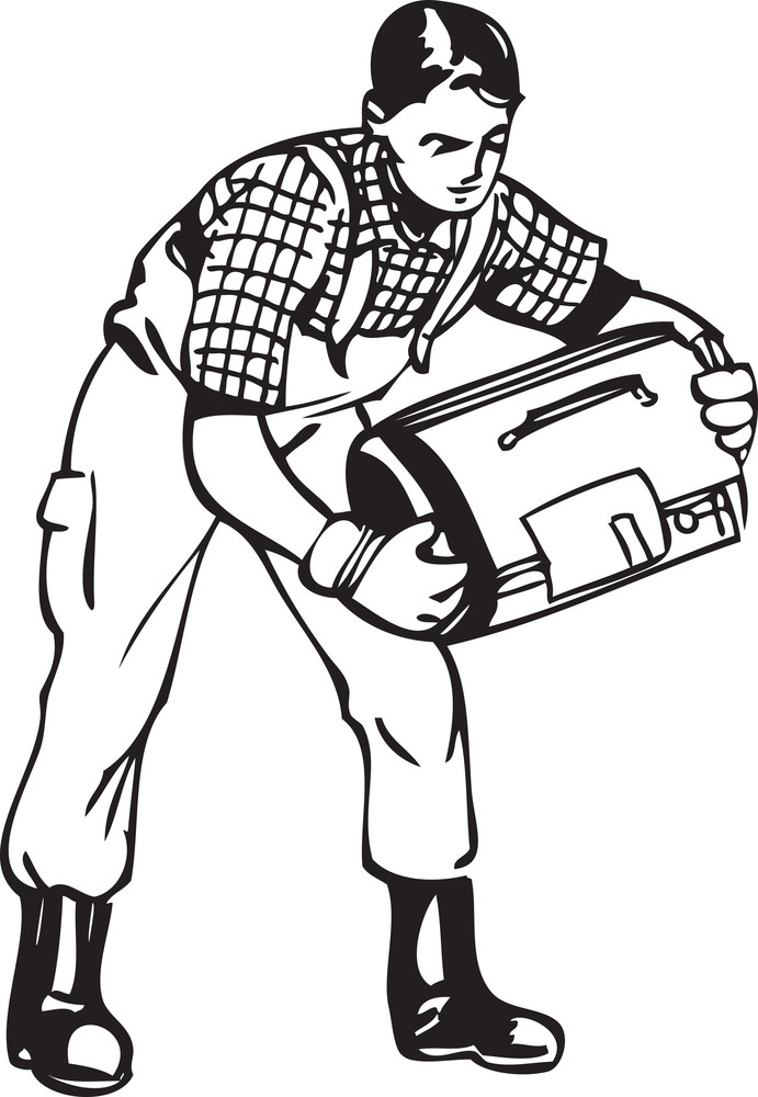 Illustration Of A Holding His Equipment Bag.