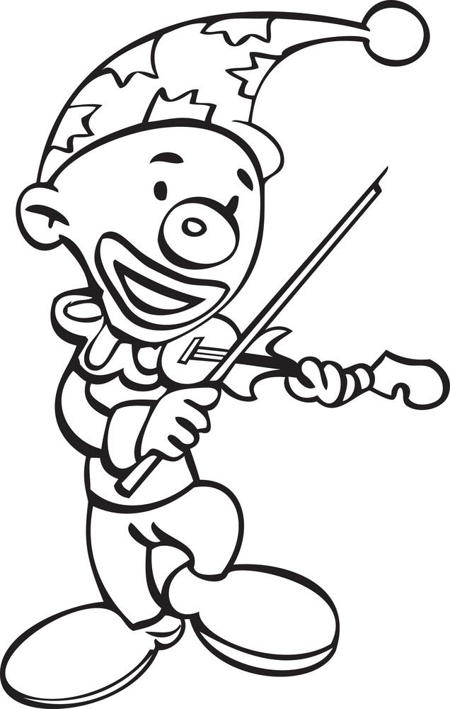Illustration Of A Joker With Violin.