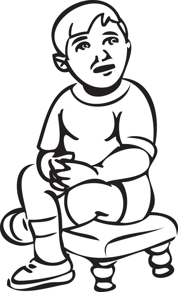 Illustration Of A Kid Sitting On Stool.