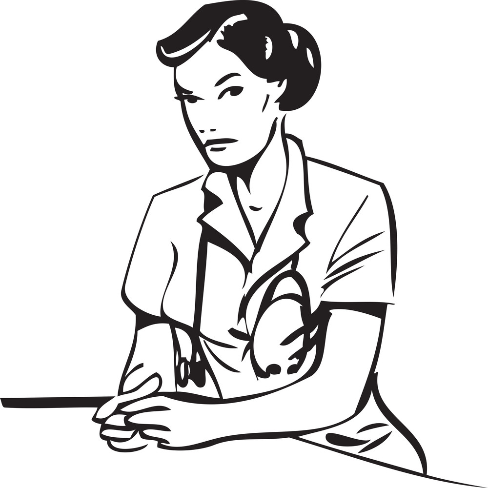 Illustration Of A Lady Doctor With Stethoscope.