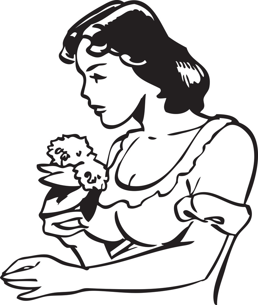 Illustration Of A Lady Holding Flowers.