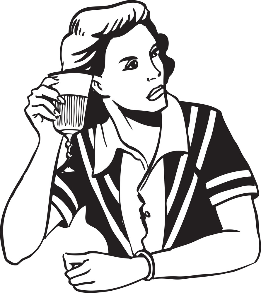 Illustration Of A Lady Holding Glass Of Alcohol.
