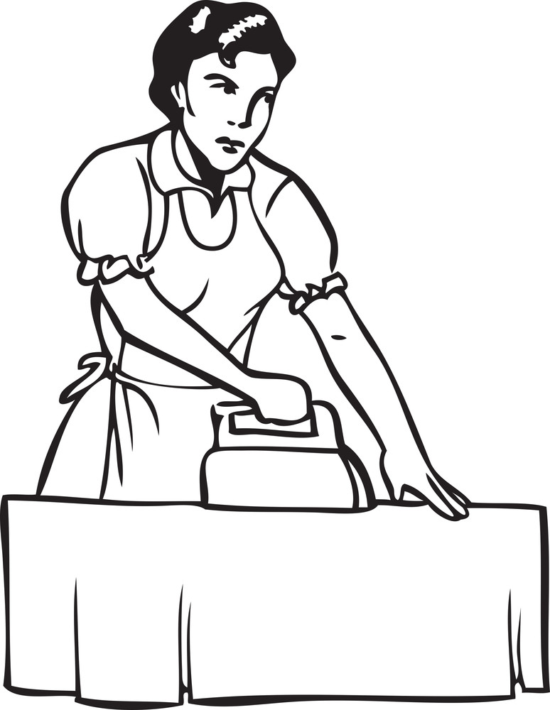 Illustration Of A Lady Ironing Clothes.