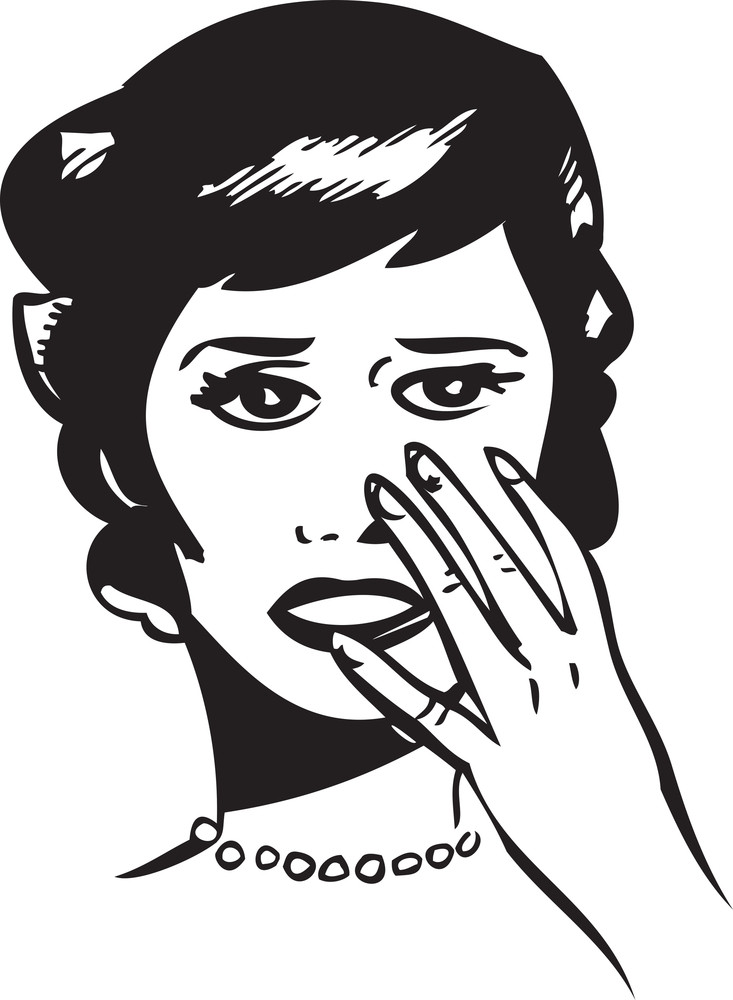 Illustration Of A Lady Keeping Her Hand On Face.
