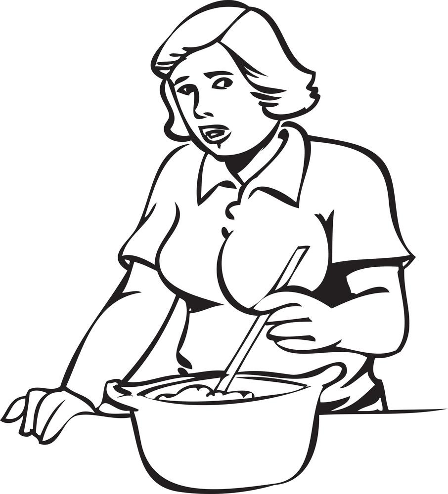 Illustration Of A Lady Preparing Food.