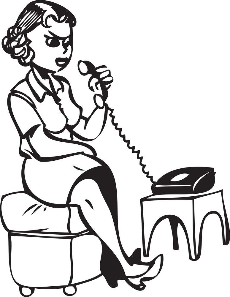 Illustration Of A Lady Receiving Phone.