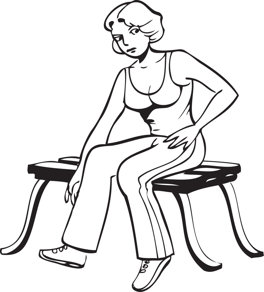Illustration Of A Lady Sitting On Bench.