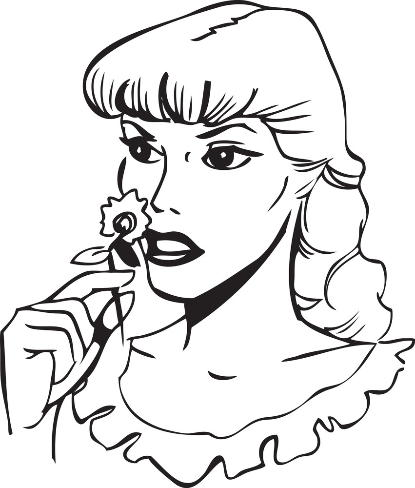 Illustration Of A Lady Smelling Flower.