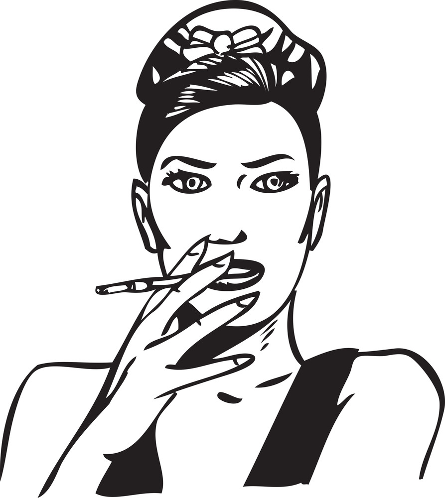 Illustration Of A Lady Smoking Cigrette.