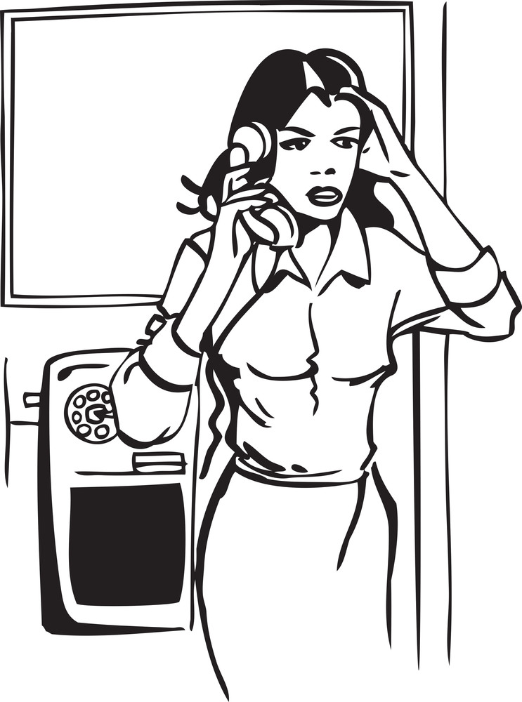Illustration Of A Lady Speaking In Telephone.