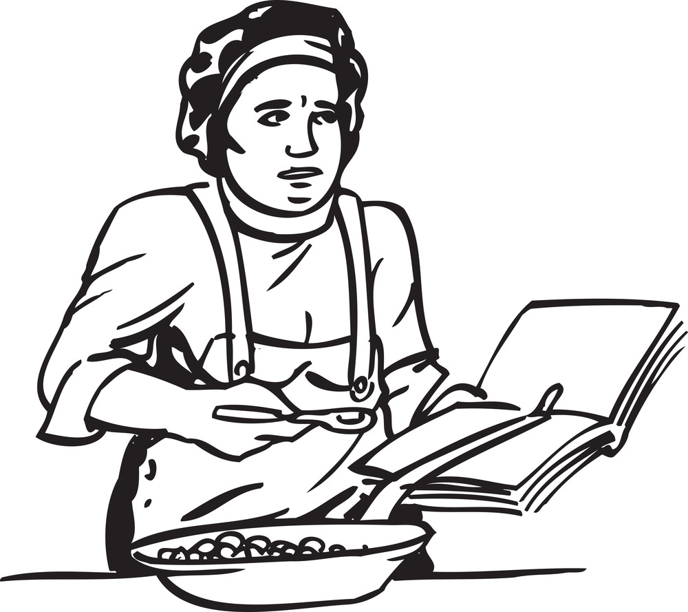 Illustration Of A Lady With Book.