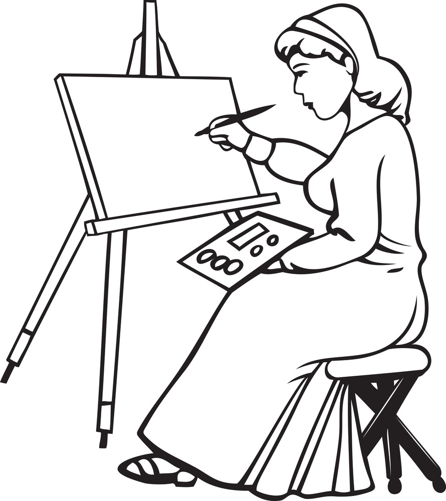 Illustration Of A Lady With Brush And Blank Canvas.