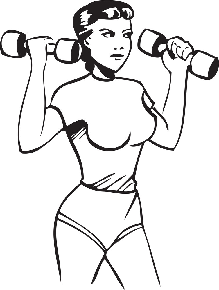 Illustration Of A Lady With Dumbbells.