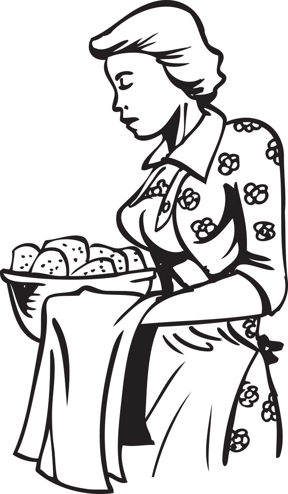 Illustration Of A Lady With Food Basket.