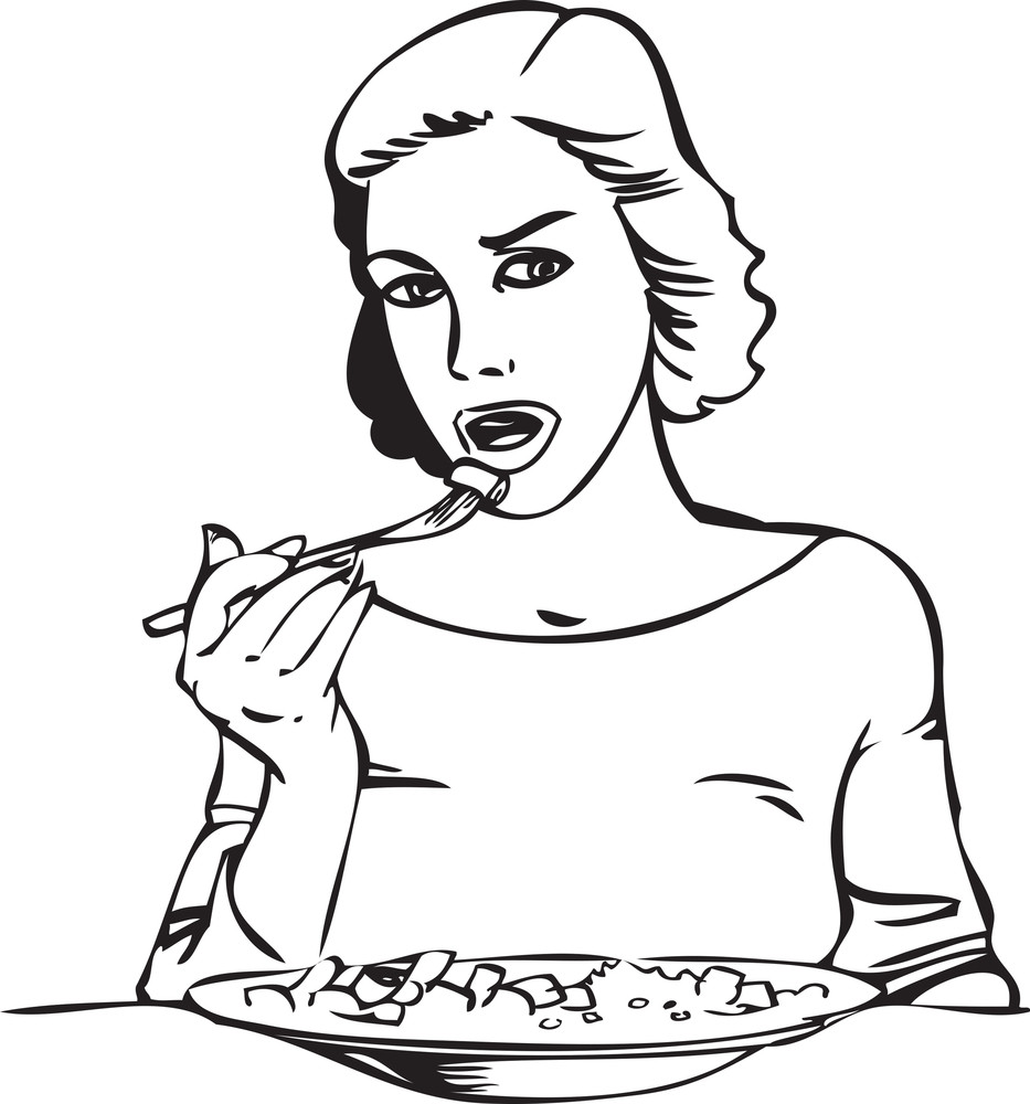 Illustration Of A Lady With Food Plate.