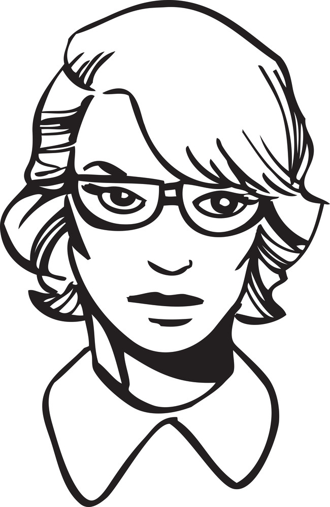 Illustration Of A Lady With Glasses.