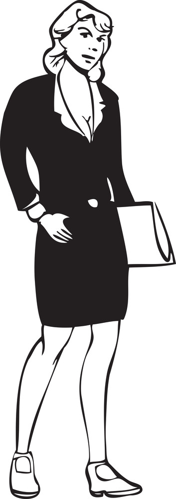 Illustration Of A Lady With Hand Bag.