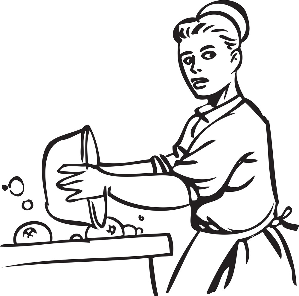 Illustration Of A Lady With Pot.