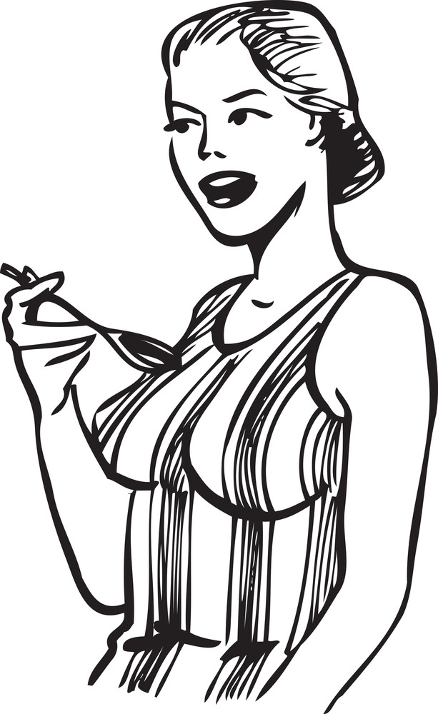 Illustration Of A Lady With Spoon.