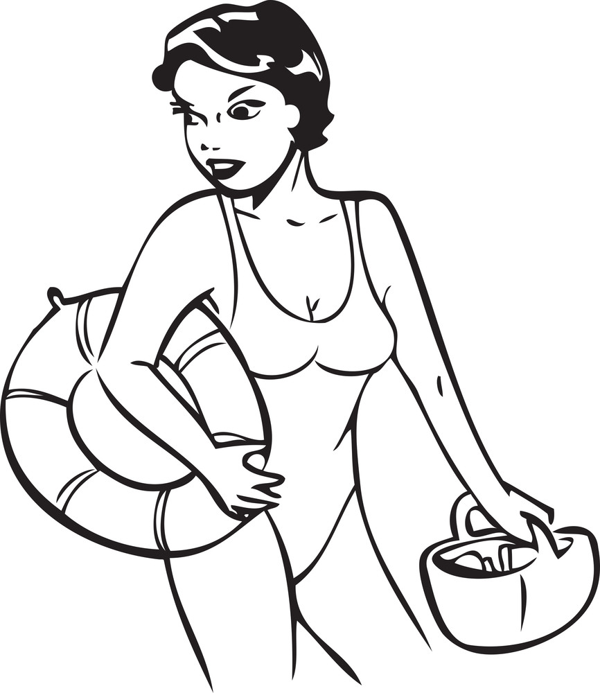 Illustration Of A Lady With Swim Ring And Basket.