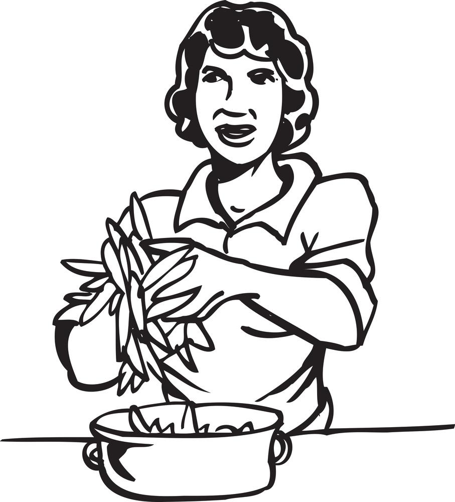Illustration Of A Lady With Veg.