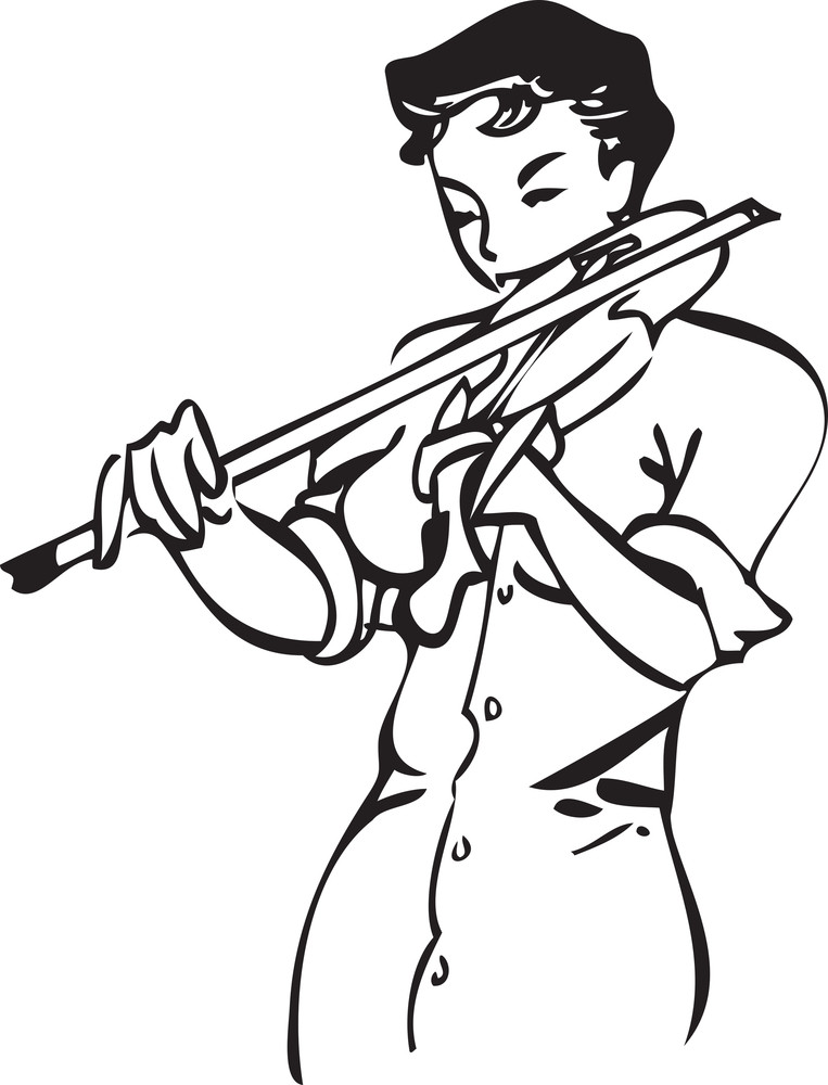 Illustration Of A Lady With Violin.