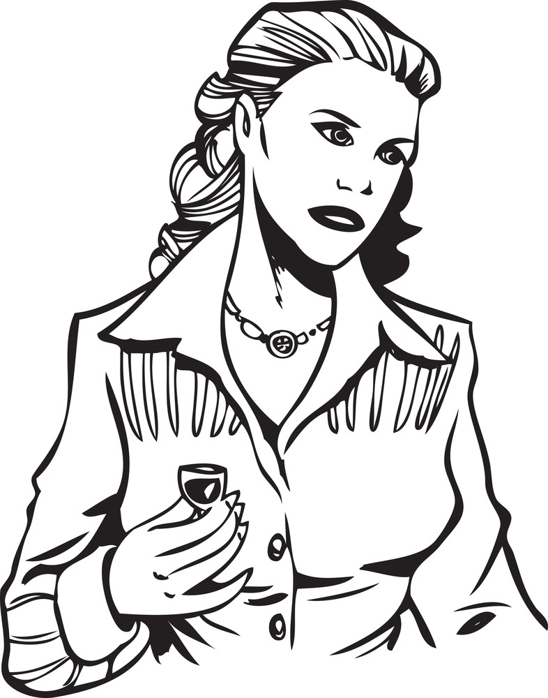 Illustration Of A Lady With Wine Glass.