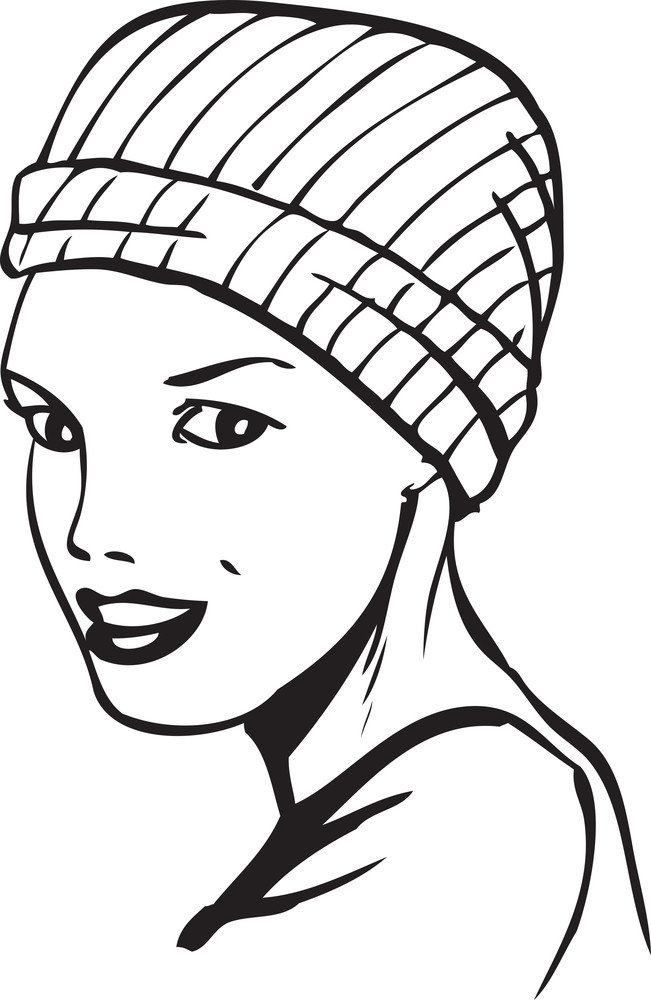 Illustration Of A Lady With Winter Cap.