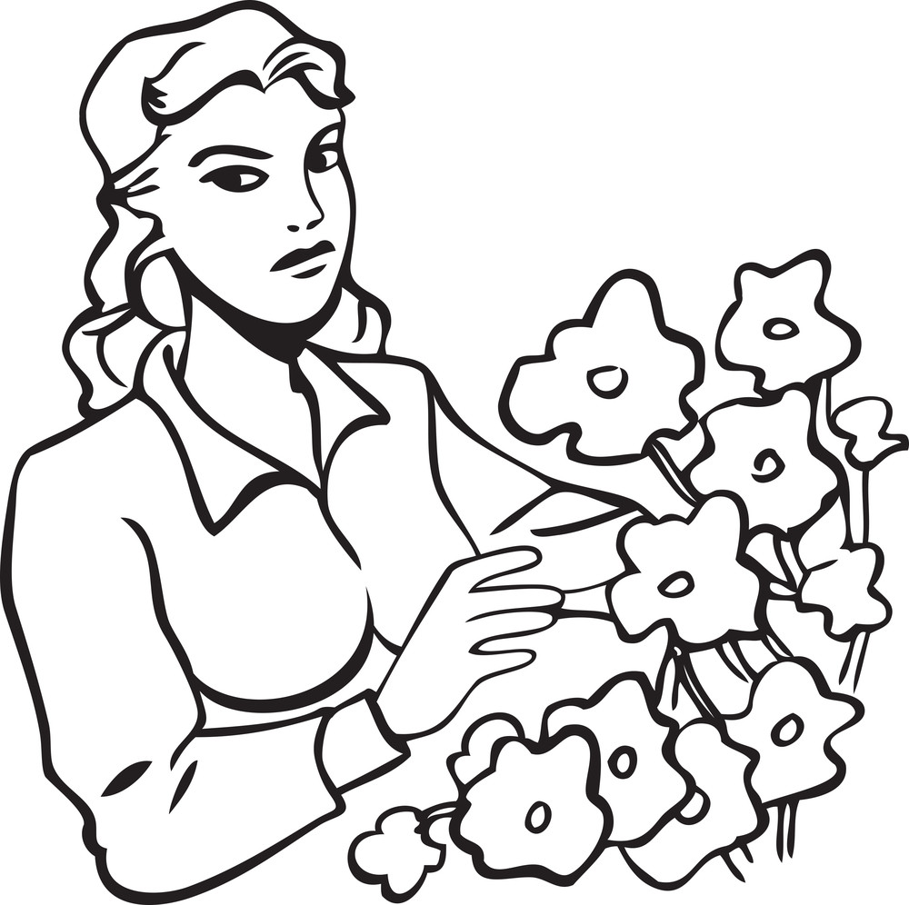 Illustration Of A Lady Wth Flowers Bunch.