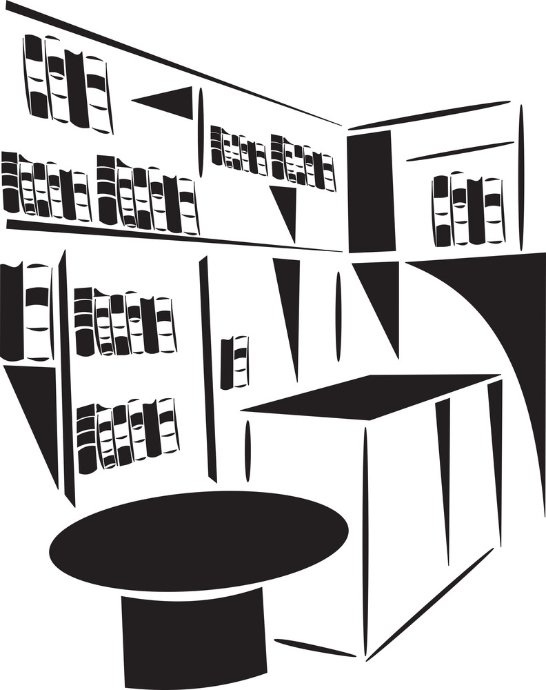 Illustration Of A Library With Table.