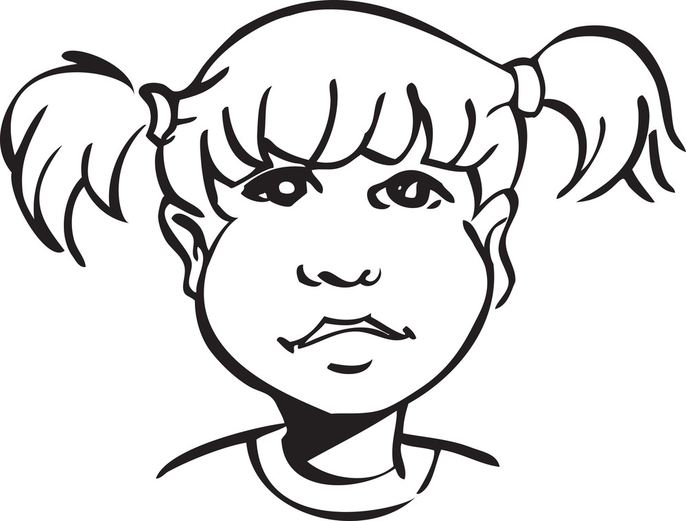Illustration Of A Little Girl Face.