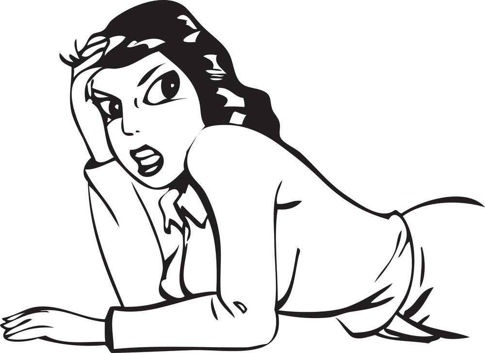 Illustration Of A Lying Lady.