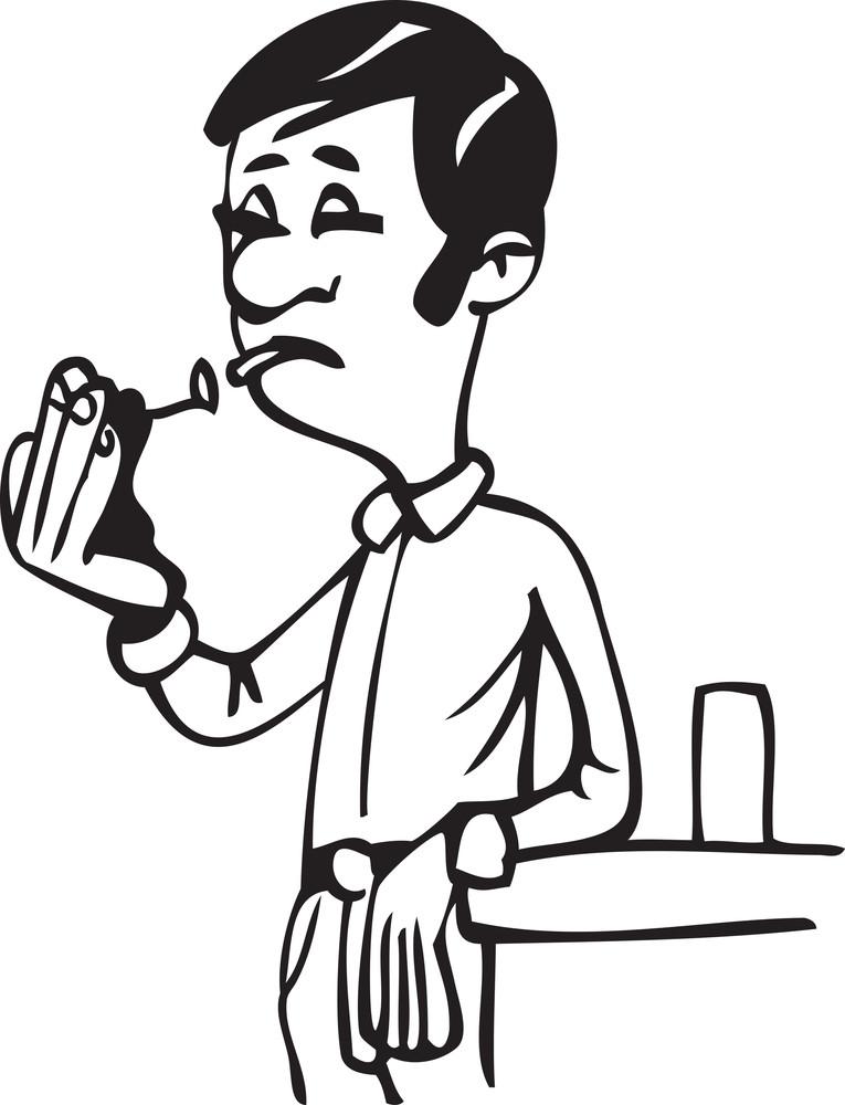 Illustration Of A Man Burning Cigrette.