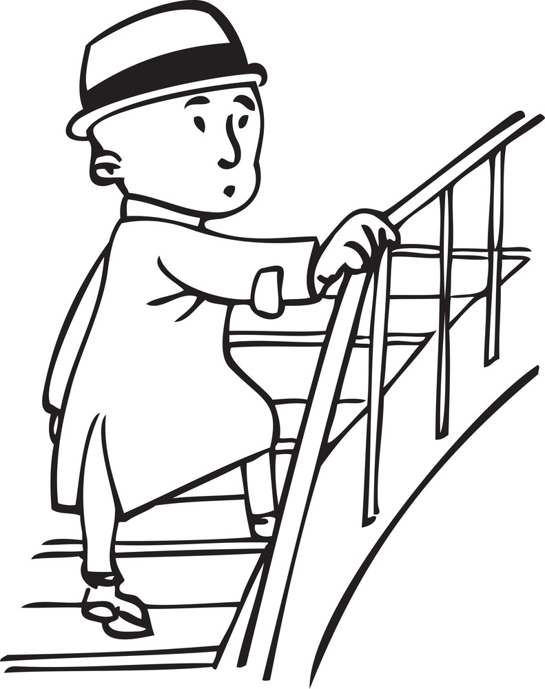 Illustration Of A Man Climbing On Stairs.