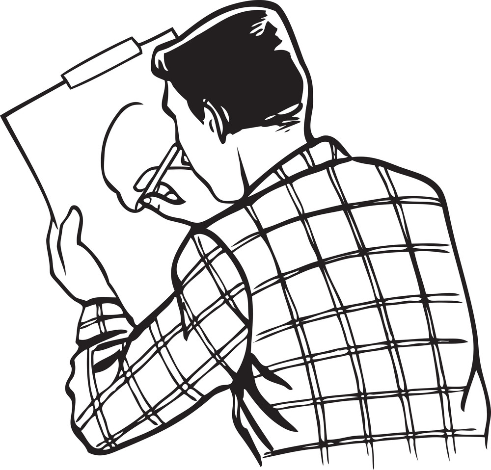 Illustration Of A Man Drawing A Picture.