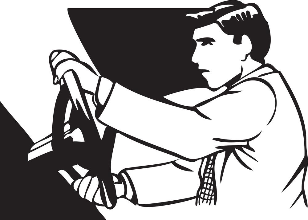 Illustration Of A Man Driving Car.