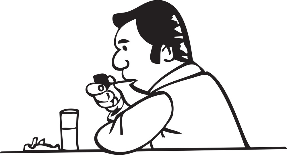 Illustration Of A Man Eating Food.