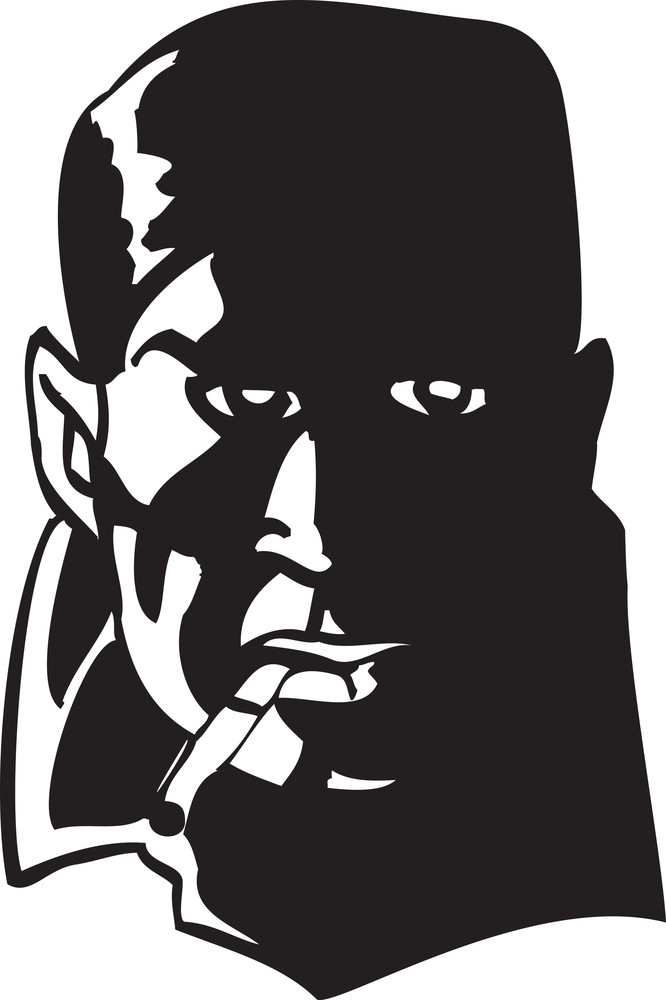 Illustration Of A Man Face Smoking Cigarette.